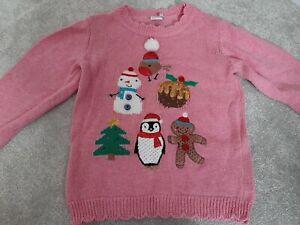 Girls Pink Christmas Jumper - Age 2-3 - Mini Club/Boots
