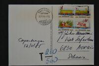 1985 Christmas Cinderella Stamp Denmark-Switzerland Postcard Postage Due T Mark