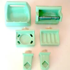 6 PC MINT GREEN Porcelain Ceramic Bathroom SET - VINTAGE Soap Toilet Paper Towel