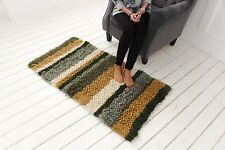 Small Bedside Rug Shaggy Wool Runner Rug Soft Area Carpet Handmade Green Striped