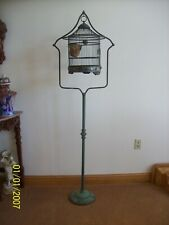 """Bird Cage Stand & Bird Cage Antique 72"""" Tall Case Iron Metal Victorian Style"""