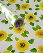 "3 ROLLS Yellow SUNFLOWER contact wall paper Shelf liner peel & stick 27ft x 18"""