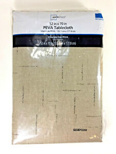 Mainstays Chloride-free PEVA TABLECLOTH 52x70 BROWNSTONE Vinyl Plastic Rectangle