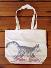 Vintage 70s B Kliban Cat Red Sneakers White Cotton Canvas Tote Bag 14x11.5