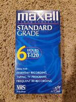 MAXWELL 1Tape 6 Hrs Standard Grade T-120 VHS Blank Tape  SEALED