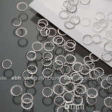 200 PCS 5mm 3D Silver Metal Nail Art Decorations Round Frame #EG-235B