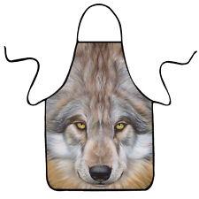 3D Animal Wolf Waterproof Bib Apron Dress for Kitchen Cooking Craft Restaurant