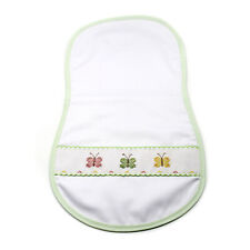 Baby Burp Cloth three Butterflies Handmade Cross Stitch Embroidery by Marta Kuhn