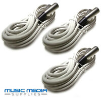 WHITE 3x 6M Microphone Lead Mic Cable XLR Patch Lead Balanced Male to Female