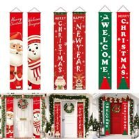 Merry Christmas Santa Banner Flag Wall Hanging Xmas Party Decor Ornaments