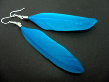 Pendientes largos de bisutería azules de plumas