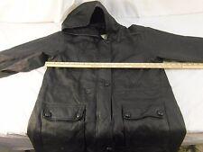 Adult Men's Middlebrook Park Hooded Black Leather Coat Long Good Shape 30549