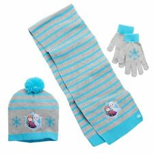 Disney Frozen Anna Elsa Pom Pom Hat Scarf Gloves Set Girls 4-16 NEW