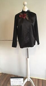 AUTHENTIC TOPSHOP FINDS BLACK KIMONO CHINESE STYLE TOP TUNIC UK 8 EU 36 US 4!