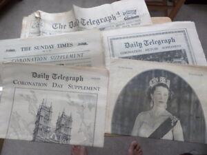 5 x NEWSPAPER SUPPLEMENTS from 1953 featuring QUEEN ELIZABETH II CORONATION