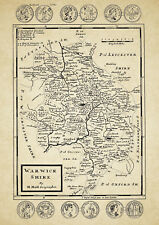 Warwickshire  County Map by Hermon Moll 1724 - Reproduction
