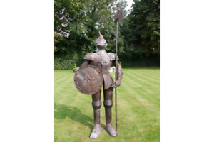 Suit of armour aged rusted shabby chic style garden ornament 244cm