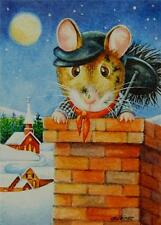 40% OFF SALE! ACEO Limited Edition Print Dickens Christmas Mice 6 Chimney Sweep
