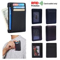 Credit Card Holder Carbon Fiber Anti-chief Money Clip RFID Blocking Slim Wallet