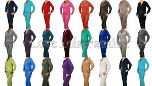 Womens Velour Tracksuits Joggers Hoodys Lounge Wear Ladies Quality Full Suit New