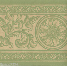 French Damask Green Shiny Gold Scroll Acanthus Leaf Medallion Wall paper Border