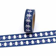 Washi Tape Christmas Trees Blue 15mm x 10m