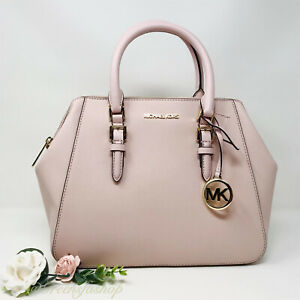 NWT MICHAEL KORS CHARLOTTE SATCHEL PINK LEATHER SHOULDER BAG NEW PURSE