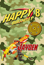 Boys Army combat NERF Gun Personalised Happy Birthday Card,any name any age