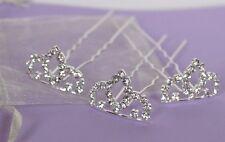 Prom cheveux Pins Princesse Tiara x 3 argent strass mariage mariée Demoiselles d'honneur