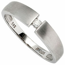 Damen Ring 585 Gold Weißgold mattiert 1 Diamant brillant 0 05ct. Goldring