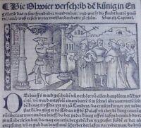 England Arthus  Roman Ritter - Holzschnitt Einzelblatt Olivier Bern Graf 1521sel