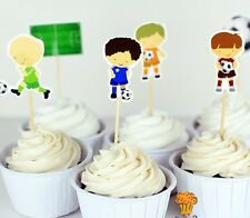 24 X SOCCER PLAYER CUPCAKE TOPPERS /  KIDS BIRTHDAY PARTY FOOTBALL SPORTS
