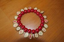Armband Bettelarmband Damen Modeschmuck ecko unltd rote Perlen elastisch Rockabi