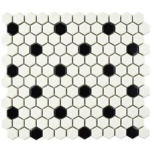 "White and Black 1"" Mix Hexagon Matte Porcelain Mosaic Floor Wall Backsplash Bath"