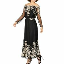 NINE WEST NEW Women's Black/gold Embroidered Off-the-shoulder Maxi Dress 4 TEDO