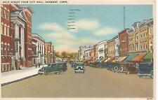 Danbury CT Main Street from City Hall Postcard 1937