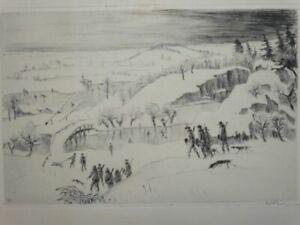 Schneelandschaft - Walther Klemm signiert - Radierung Eisläufer Winter - 1920