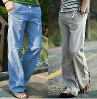 Mens Linen Loose Flax Breathable Cargo Pants Casual Outdoor Trousers 4Colors Sz