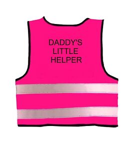 """Hi Visibility Baby Vest Pink """"DADDY'S LITTLE HELPER"""" 0-24 Months in 3 Sizes"""