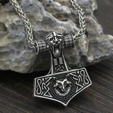 Hammer Scandinavian Norse Pendant necklace Odin with wolf Viking jewelry Amulet