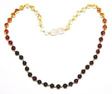 Baltic amber baby necklace, rainbow round beads 33 cm / 13 inch