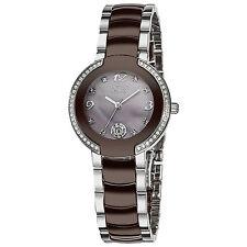 Burgi Women's BUR072BR Mother-Of-Pearl Diamond Ceramic Bracelet Watch MSRP $650