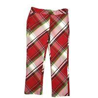 Janie & Jack Tartan Party Red Plaid Silk Pants Girls Size 5 Adjustable Waistband