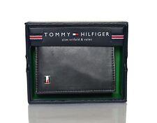 GENUINE Tommy Hilfiger Mens Oxford Slim Leather Credit Card Trifold Wallet Black