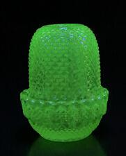 Mosser Yellow Iridescent Vaseline Glass Fairy Lamp Tealight Candle Holder