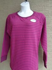 NEW Hanes Cotton Blend French Terry L/S Crew Neck Top 2X Purple Striped