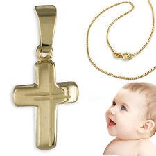 Kinder Taufkette Kommunion Dekor Kreuz Echt Gold 333 mit Kette Silber vergoldet