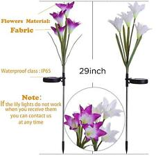 2 pcs Garden Solar Powered Lights with 4 Lily Flower Multi-color LED Stake Light