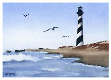 """""""Cape Hatteras Lighthouse"""" Watercolor 5 x 7 Art Print Signed by Artist DJR"""