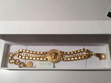 NIB Authentic VERSACE Gold Tone Bijoux Triple Cube Chain Medusa Bracelet